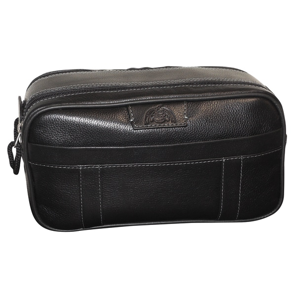 Dopp Country Saddle Leather Multi-zip Travel Toiletry Bag