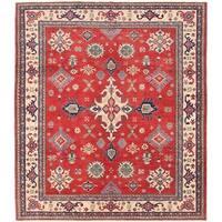 Herat Oriental Afghan Hand-knotted Vegetable Dye Kazak Wool Rug (8' x 9'4)