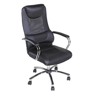 OneSpace 60-5902 Black Mesh High-back Executive Chair with Head and Lumbar Support