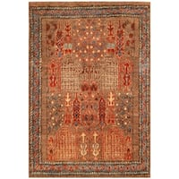 Herat Oriental Afghan Hand-knotted Vegetable Dye Shag Gabbeh Wool Rug (7' x 10'4)