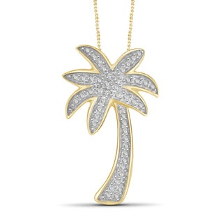 Jewelonfire Genuine Accent White Diamond Palm Tree Pendant In Brass