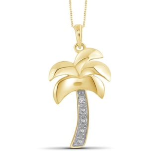Jewelonfire Genuine Accent White Diamond Palm Tree Pendant in 14K Gold Plated Brass