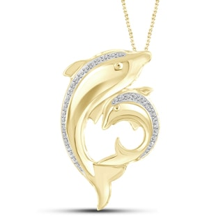 Jewelonfire Genuine Accent White Diamond Motherly Dolphin Pendant in 14K Gold Plated Brass