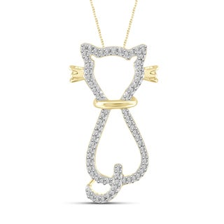 Jewelonfire Genuine Accent White Diamond Cat Pendant in 14K Gold Plated Brass