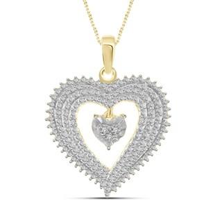 Jewelonfire Genuine Accent White Diamond Heart Pendant in 14K Gold Plated Brass