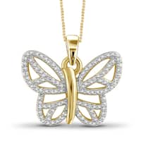 Jewelonfire Genuine Accent White Diamond Butterfly Pendant in 14K Gold Plated Brass