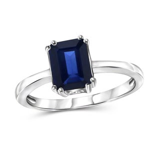 JewelonFire 1.90 CTW Genuine Sapphire Gemstone Ring in Sterling Silver