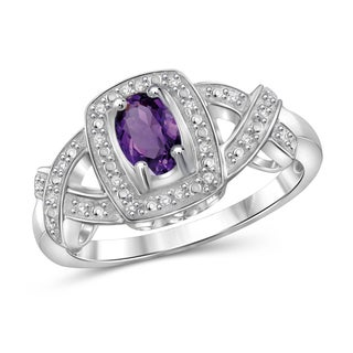 Jewelonfire 0.42 CTW Amethyst Gemstone & 1/20 CTW White Diamond Ring in Sterling Silver