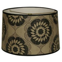 Royal Designs Two-tone Black and Beige Flower Design10 x 10 x 8-inch Modern Trendy Decorative Handmade Lamp Shade