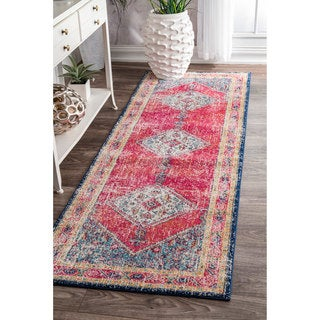 nuLOOM Traditional Medallion Soild Border Multi Runner Rug (2'8 x 8')