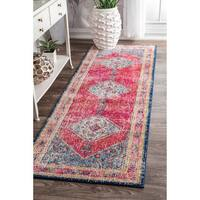 nuLOOM Traditional Medallion Soild Border Multi Runner Rug