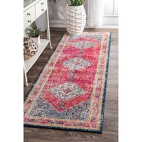 nuLOOM Traditional Medallion Soild Border Multi Runner Rug - 2'8 x 8'