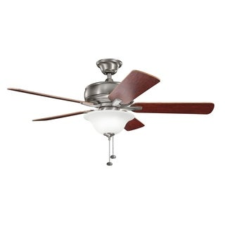 Kichler Lighting Terra Select Collection 52-inch Burnished Antique Pewter Ceiling Fan with Light - burnished antique pewter