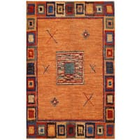 Herat Oriental Afghan Hand-knotted Vegetable Dye Shag Gabbeh Wool Rug (5'11 x 9'1)