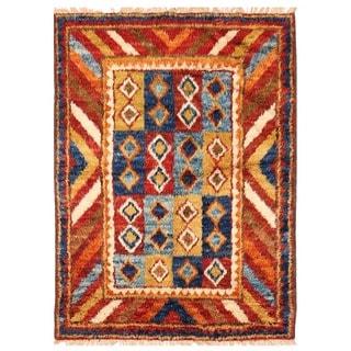 Herat Oriental Afghan Hand-knotted Vegetable Dye Shag Gabbeh Wool Rug (4'9 x 6'7)