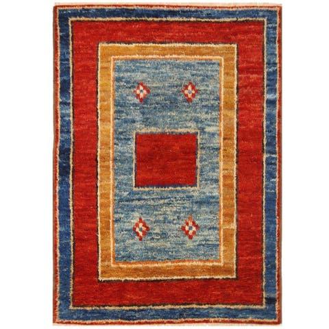 Handmade One-of-a-Kind Vegetable Dye Shag Gabbeh Wool Rug (Afghanistan) - 4'11 x 6'11