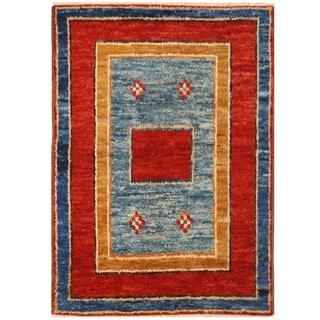 Herat Oriental Afghan Hand-knotted Vegetable Dye Gabbeh Wool Rug (4'11 x 6'11)