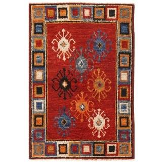 Herat Oriental Afghan Hand-knotted Vegetable Dye Gabbeh Wool Rug (4'10 x 7'4)