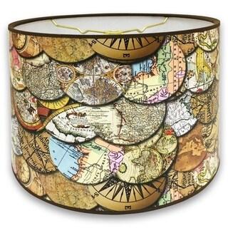 Royal Designs Vintage Old World Maps Design 10 x 10 x 8-inch Modern Trendy Decorative Handmade Lamp Shade