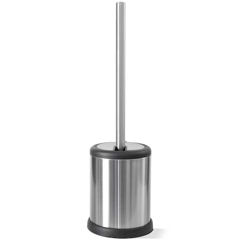 Silver-finished Plastic Toilet Brush with Lid