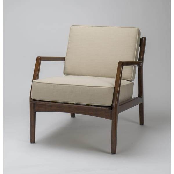 Veurne Mid Century Modern Cream Accent Chair