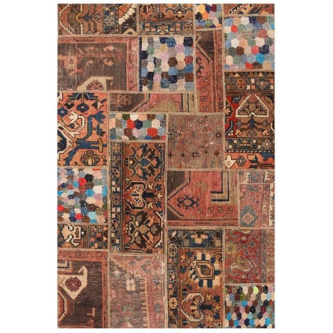 Handmade One-of-a-Kind Patchwork Wool Rug (Pakistan) - 3'10 x 5'10