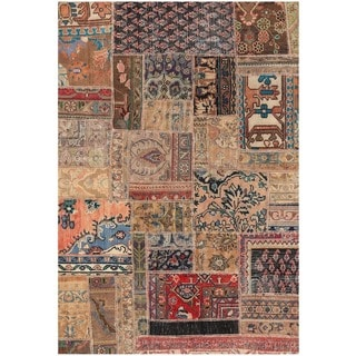 Herat Oriental Pak Persian Hand-knotted Patchwork Wool Rug (4' x 5'10)