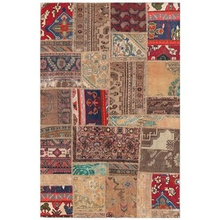 Herat Oriental Pak Persian Hand-knotted Patchwork Wool Rug (3'11 x 6')