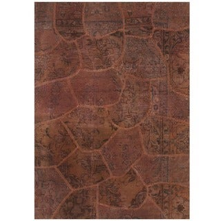 Herat Oriental Pak Persian Hand-knotted Patchwork Wool Rug (4'1 x 5'10)