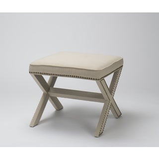 Luna Cream Fabric Upholstered X-leg Ottoman