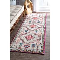 nuLOOM Contemporary Modern Abstract Tribal Silver Runner Rug