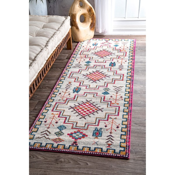 nuLOOM Contemporary Modern Abstract Tribal Silver Runner Rug - 2'8 x 8'