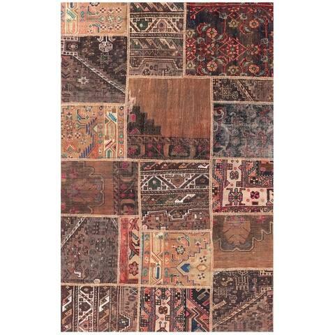 Handmade Patchwork Wool Rug (Pakistan) - 3'9 x 6'