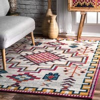 nuLOOM Contemporary Modern Abstract Tribal Silver Rug (5' x 7'5)