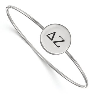Sterling Silver LogoArt Delta Zeta Enameled Slip-on Bangle