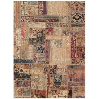 Herat Oriental Pak Persian Hand-knotted Patchwork Wool Rug (4'4 x 5'10)