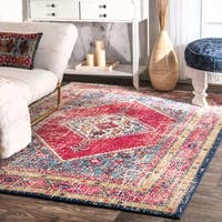 nuLOOM Transitional Medallion Floral Border Multi Rug (8' x 10')