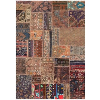 Herat Oriental Pak Persian Hand-knotted Patchwork Wool Rug (3'10 x 5'8)