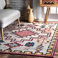 nuLOOM Contemporary Southwestern Silver Rug - 8' x 10'