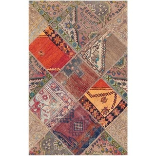 Herat Oriental Pak Persian Hand-knotted Patchwork Wool Rug (3'9 x 5'11)