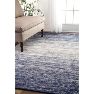 nuLOOM Handmade Flatweave Cotton Faded Blue Rug (2'6 x 10')
