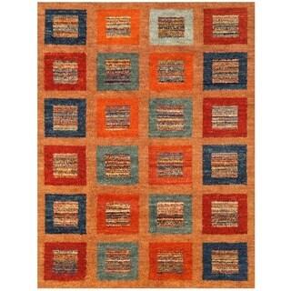 Herat Oriental Afghan Hand-knotted Vegetable Dye Gabbeh Wool Rug (10'4 x 13'6)