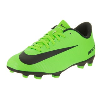 Nike Kids JR Mercurial Vortex III Fg Green Synthetic Leather Soccer Cleats