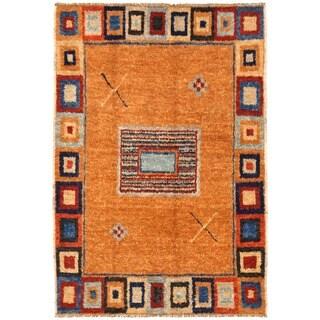 Herat Oriental Afghan Hand-knotted Vegetable Dye Gabbeh Wool Rug (6'5 x 9'9)