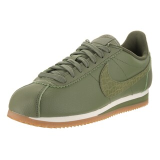 Nike Women's Classic Cortez Green Leather Lux Casual Shoe