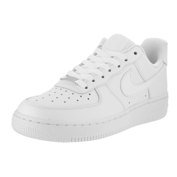 Shop Nike Women s Air Force 1  07 White Leather Basketball Shoes ... 47fac9d70a