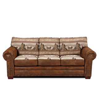 Alpine Brown Rustic Lodge Sleeper Sofa
