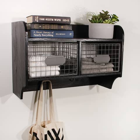 Wood Wall Shelf with 2 Wire Baskets and Hanging Hooks