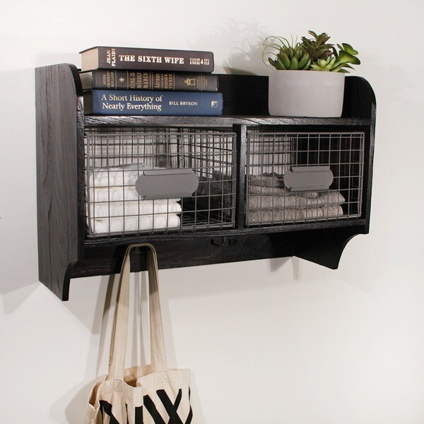 Shop Wood Wall Shelf With 2 Wire Baskets And Hanging Hooks