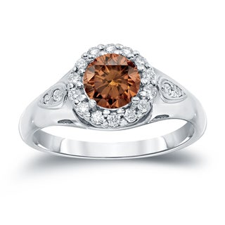 Auriya 14k Gold 1 1/4ct TDW  Round Cut Halo Diamond Halo Engagement Ring (Brown, SI1-SI2)
